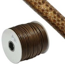 Faux Snake Skin Cord, Round, 3mm, Brown, (6 yards)