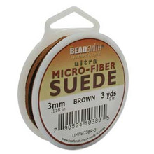 Ultra Micro Fiber Suede Lace, 3.0mm x 1.0mm, Brown, (3-yard spool)