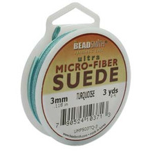 Ultra Micro Fiber Suede Lace, 3.0mm x 1.0mm, Turquoise, (3-yard spool)