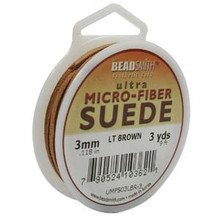 Ultra Micro Fiber Suede Lace, 3.0mm x 1.0mm, Light Brown, (3-yard spool)