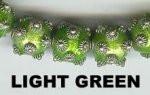"Oriental Metal Bead, 10mm round, ""bali look"", light green, (2 beads)"
