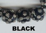 "Oriental Metal Bead, 12mm round, ""bali look"", black, (2 beads)"