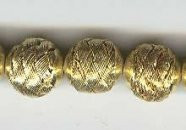 "Oriental Metal Bead, 12mm enamel ""gold"" basket weave, (2 beads)"