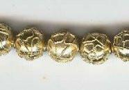 "Oriental Metal Bead, 10mm enamel ""gold"", (4 beads)"