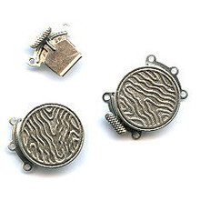 Antique Silver (over brass), Round, Push-Pull Clasp, 24x19mm, 3-strand, (1 two-part clasp set)