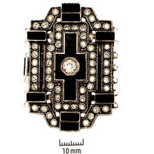Rhodium Plate, Old Palladium Color, German Vintage-Style, Art Deco Push-Pull Box Clasp, with Rhinestones (crystal and jet), black enameled cross in center, 7-strand, 54x37mm, (1 clasp)