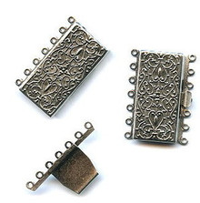 Antique Silver (over brass), Rectangle, Push-Pull Clasp, 36x26mm, 7-strand, (1 two-part clasp set)