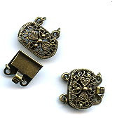 Vintage Bronze (brass oxidized), Oval Filigree, Push-Pull Clasp, 20x16mm, 2-strands, (1 two-part clasp set)