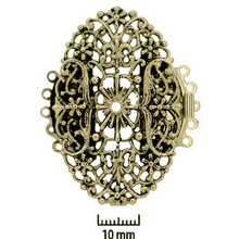 Rhodium Plate, Old Palladium Color, Filigree Oval, Push-Pull Box Clasp, 5-strand, 47x30mm, (1 clasp)