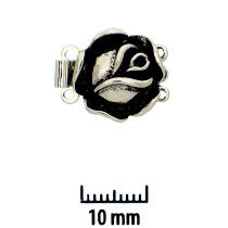 Rhodium Plate, Old Palladium Color, Rose, Push-Pull Box Clasp, 3-strand, 14mm, (1 clasp)