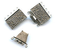 Antique Silver (over brass), Rectangle, Push-Pull Clasp, 23x21mm, 5-strand, (1 two-part clasp set)