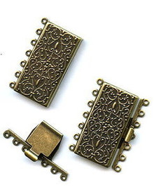 Vintage Bronze (brass oxidized), Rectangle Push-Pull Clasp, 36x26mm, 7-strand, (1 two-part clasp set)
