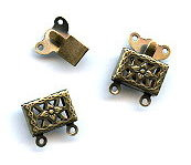 Vintage Bronze (brass oxidized), Rectangle Filigree, Push-Pull Clasp, 14x11mm, 2-strand, (1 two-part clasp set)
