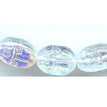 Scarab, Czech Glass Bead, 11x8mm, crystal ab, (25 beads)