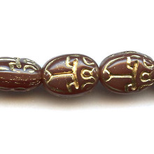 Scarab, Czech Glass Bead, 11x8mm, dark carnelian/gold lines, (25 beads)