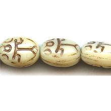 Scarab, Czech Glass Bead, 11x8mm, ivory/brown lines, (25 beads)