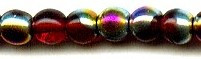 6mm Round Druk, Czech Glass, ruby dark vitrail, (100 beads)