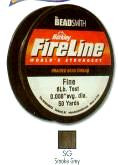 "FireLine Braided Bead Cord, .008"" diameter, Fine Size D, (6 pound test), 50 yards, smoke grey, (1 50 yd spool)"