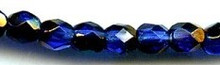 6mm Round Fire Polish Bead, Czech Glass, cobalt/azuro, (100 beads)