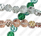6-Petal Flower Bead, 8x4mm glass, Side Drilled, apollo gold, (50 beads)