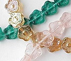 5-Petal Flower Bead, 12mm glass, Side Drilled, topaz luster (50 beads)