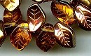 14x9mm Glass Leaf Bead (horizontal drilled), Czech Glass, bronze/medium topaz, (25 beads)