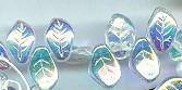 14x9mm Glass Leaf Bead (horizontal drilled), Czech Glass, crystal ab, (25 beads)