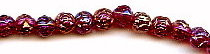 6mm Glass Rosebud Bead, dark ruby peacock, (50 beads)