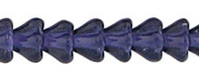Baby Bell Flower Glass Bead, 4x6mm, Center Drilled, tanzanite, Czech Glass, (50 beads)