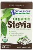 Wholesome Sweeteners Organic Stevia, 75 Packets (Pack of 3)