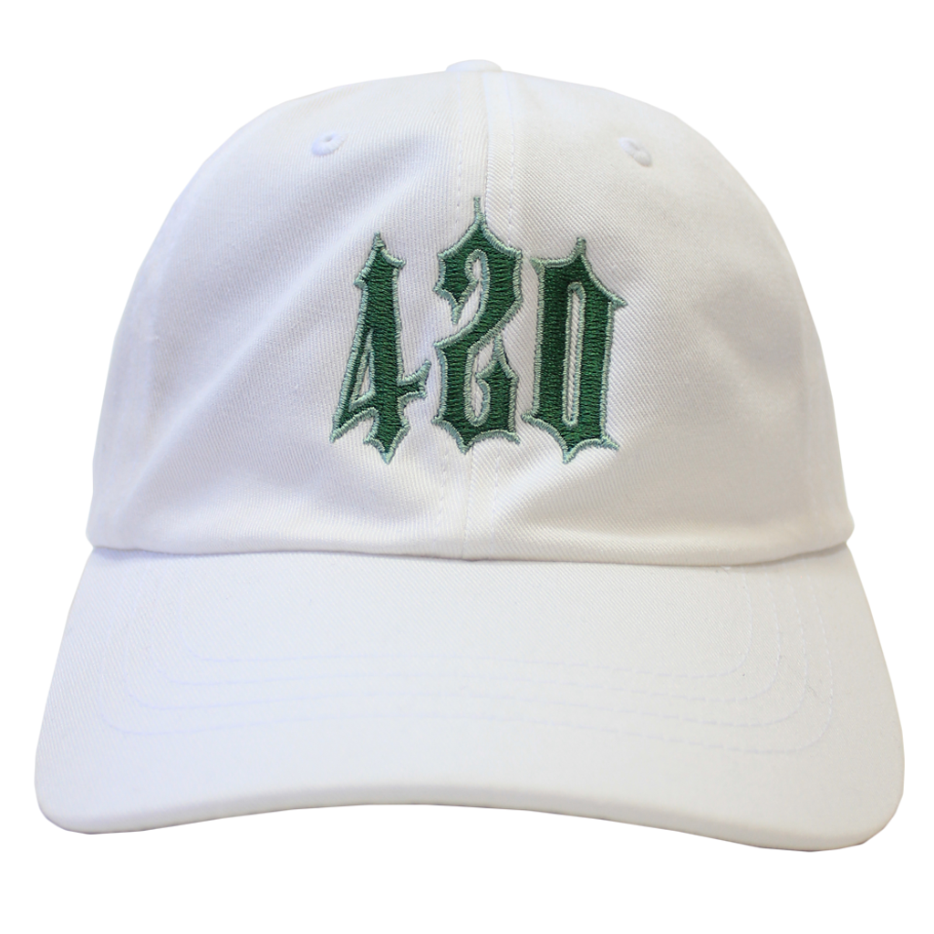 420 Trap Dad Hat - White