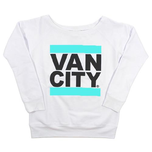 Women's UnDMC Slouchy Wideneck Sweatshirt - White/Teal