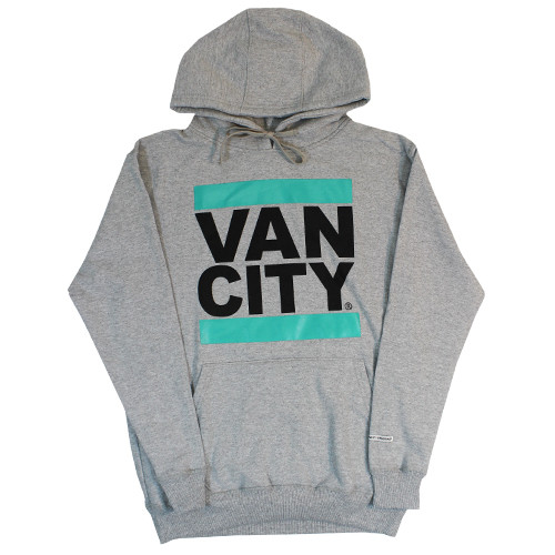 Vancity Original® New Classic Fit UnDMC Hoodie in Grey/Teal - Front