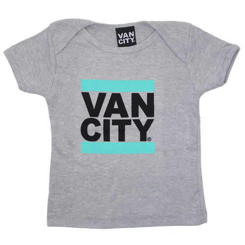 Baby Lap Neck Tee - Heather Grey/Teal