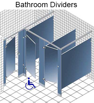 Design and order bathroom dividers, toilet partitions, shower dressing stalls