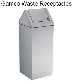 Commercial bathroom accessories gamco washroom for Commercial bathroom trash cans