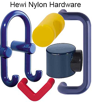 Hewi USA nylon bathroom accessories including grabbars and shower seats
