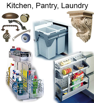 Outfit your kitchen, pantry, and laundry room with cabinet storage accessories and decorative hardware