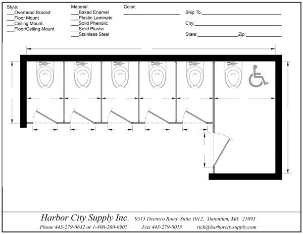 Alcove Right Hand 6 Stall Ada Harbor City Supply