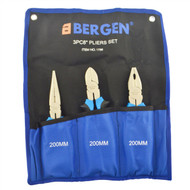 """3pc 8"""" / 200mm Pliers Set (combination / Cutters And Long Nose) NI-FE Finish Bergen"""