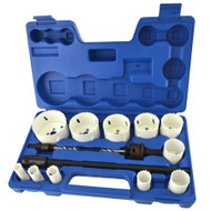 17pc Bimetal Hole Saw Cutter Circle Drill Pilot Drill Arbor 16 - 76mm & Extension TE878