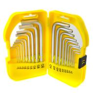 Short Hex / Allen / Torx / Tamper Key Set 18pc 1.5 – 10mm / T10 – T50 Bergen