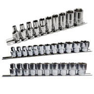 """Imperial / SAE / AF Shallow Sockets 1/4"""" / 3/8"""" and 1/2"""" Drive 5/32"""" - 1"""" 32pc Set"""