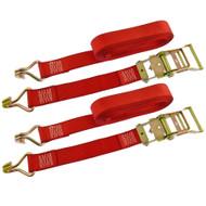 Red Ratchet Strap Tie Down Trailer 5m Hook Cargo Strap 750kg Lashing x 2 (Pair)
