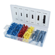 220pc Wallplugs Raw 20-60mm Rawl Plug Wall Coloured In Case Poly Anchor