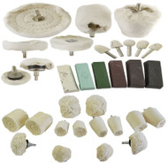 32pc Deluxe Polishing Kit Buffing Cloth Cotton Mop Drill Compounds Spindle Metal