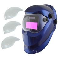 Auto Darkening Welders Helmet Mask Welding Grinding Blue & 3 x Lens Cover