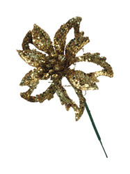 Poinsettia Pick 3.5'' Glittered - Gold (WS-PPG-G)