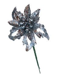Poinsettia Pick 3.5'' Glittered - Silver (WS-PPG-S)