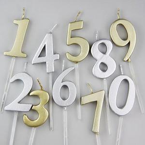 復古經典數字蠟燭 (香檳金/閃鑽銀)